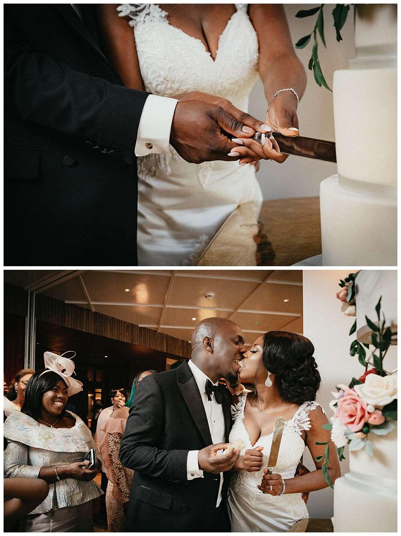 London Wedding Photographer - the couple cutting the cake