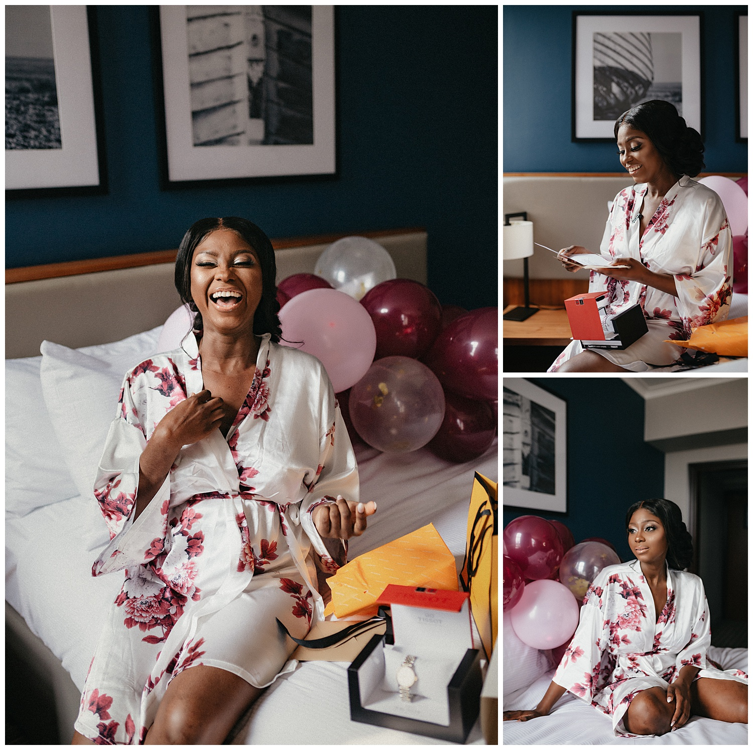 Bride opens gifts and letters on the bed