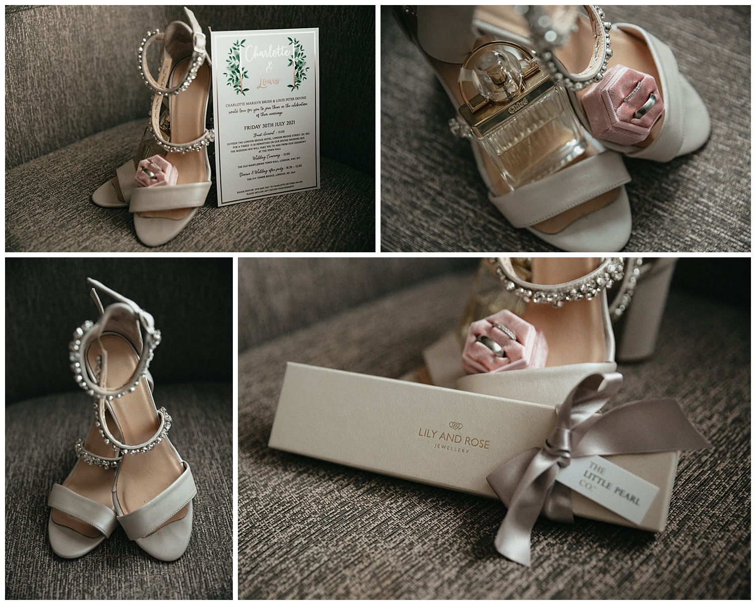 Weddings at The Ivy Tower Bridge - The brides shoes and Jewellery