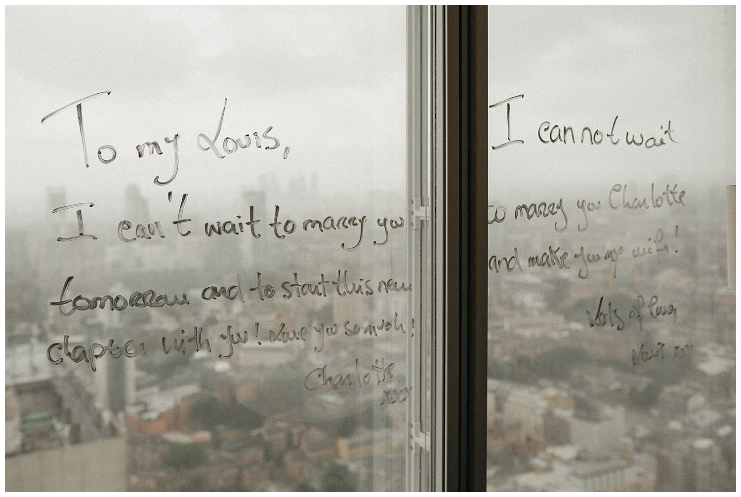 Weddings at The Ivy Tower Bridge - Messages written on a window
